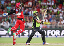 Peter Nevill leaps with joy after taking a catch to dismiss Jacques Kallis, Sydney Thunder v Melbourne Renegades, Big Bash League 2015-16, Sydney, January 11, 2016