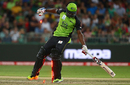 Andre Russell stumbles and steps on his stumps, Sydney Thunder v Melbourne Renegades, Big Bash League 2015-16, Sydney, January 11, 2016