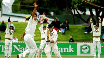 Stephen Fleming is lbw to Shoaib Akhtar
