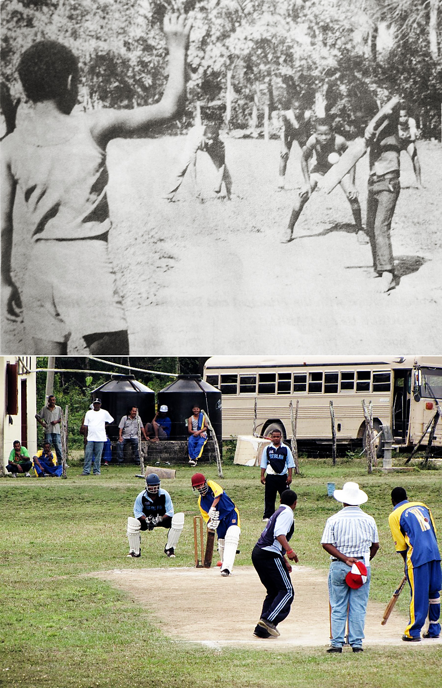 Cricket in Bermudian Landing over the years: a clipping from <i>Glimpses of our History</i> (1966) by Leo Bradley (top); Surprise take on Berlan in the present day