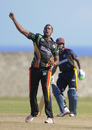 Paul Wintz celebrates one of his three wickets, Guyana v CCC, Nagico Super50 2016, Basseterre, January 11, 2016
