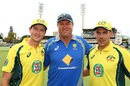 Bruce Reid poses with Joel Paris and Scott Boland, Australia v India, 1st ODI, Perth, January 12, 2016