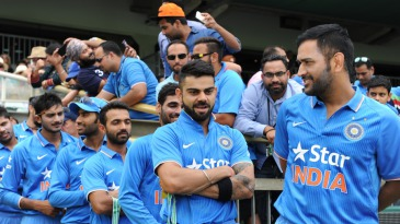 Virat Kohli and MS Dhoni line up ahead of the game