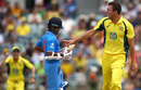 Josh Hazlewood celebrates after getting Shikhar Dhawan out for 9,  Australia v India, 1st ODI, Perth, January 12, 2016
