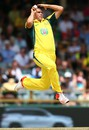 Scott Boland leaps as he approaches the bowling crease,  Australia v India, 1st ODI, Perth, January 12, 2016