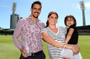 Mitchell Johnson poses with his family after he was ferried across the ground, Australia v India, 1st ODI, Perth, January 12, 2016