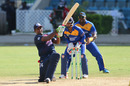 Srimantha Wijeratne slogs over midwicket, Barbados v ICC Americas, Nagico Super50 2016, Port-of-Spain, January 13, 2016