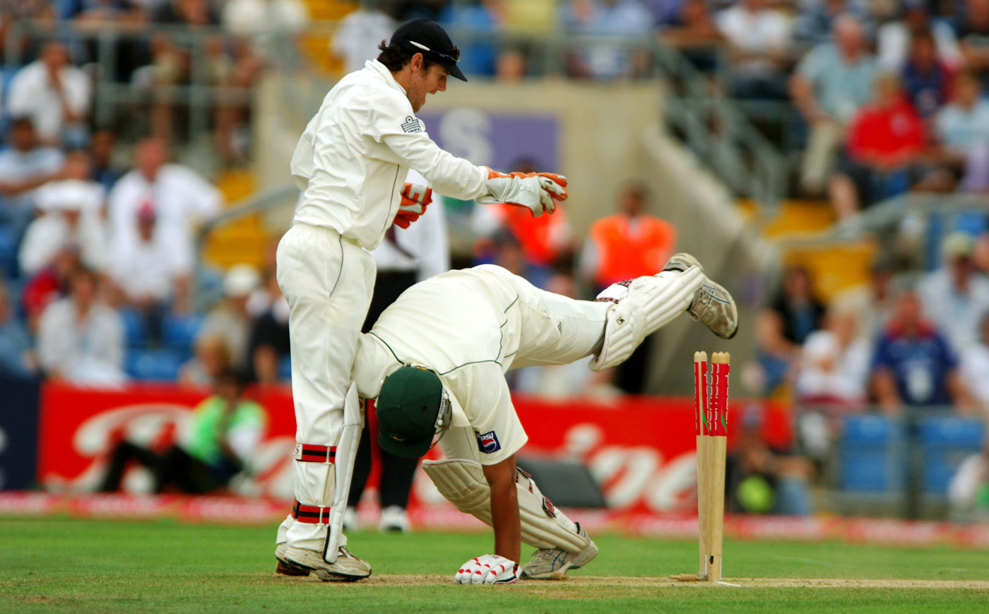 Obstacle course: Inzamam treats the stumps like a hurdle (or not) at Headingley in 2006