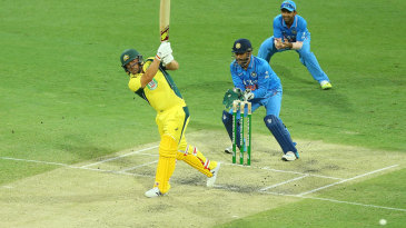Aaron Finch targets the leg side
