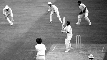 Chetan Chauhan is caught for 6 by Ian Botham off Bob Willis