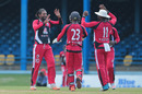 Imran Khan celebrates one of his four wickets, Trinidad & Tobago v ICC Americas, Nagico Super50 2016, Port-of-Spain, January 15, 2016