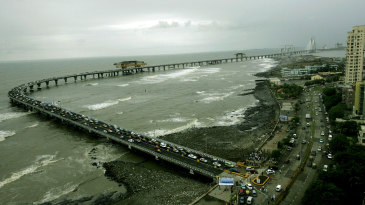 The entrance to the Bandra-Worli Sea Link on the Worli Sea Face Road