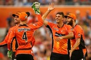Matt Dixon celebrates one of his three wickets, Perth Scorchers v Melbourne Stars, BBL 2015-16, Perth, January 16, 2016