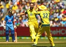Kane Richardson celebrates Rohit Sharma's wicket, Australia v India, 3rd ODI, Melbourne, January 17, 2016