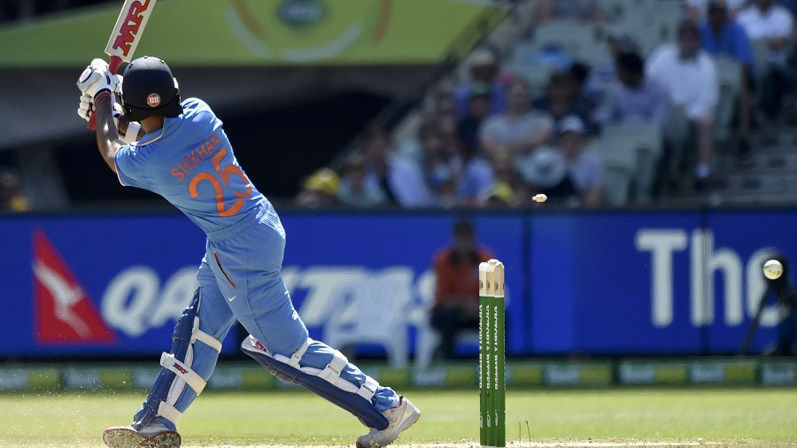 ... Before Dhawan was bowled for 68 while attempting to slog over square leg
