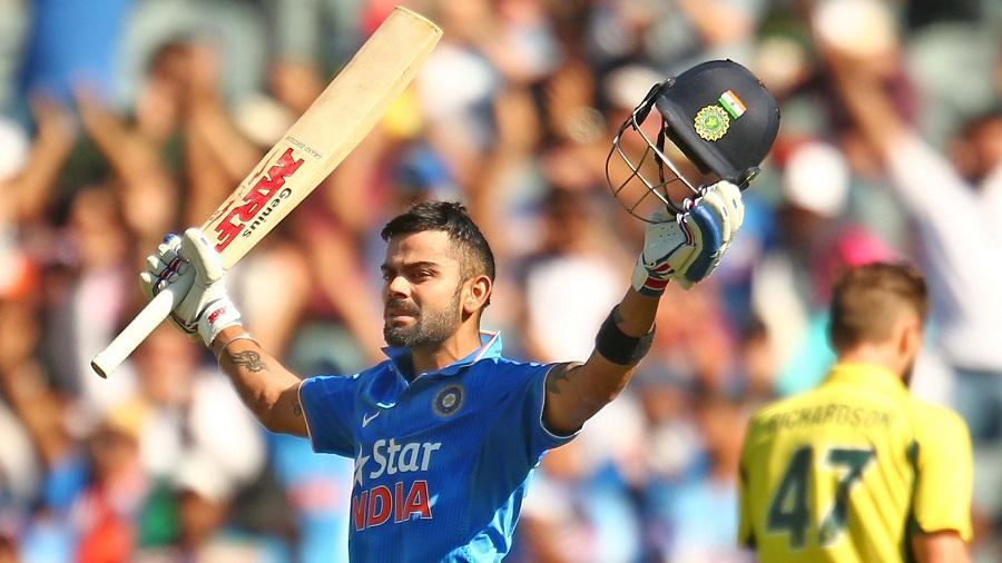 Virat Kohli celebrates his 24th ODI century