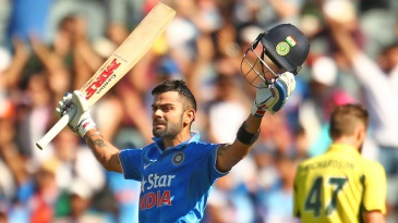 Virat Kohli celebrates his 24th ODI century
