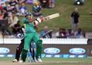 Sohaib Maqsood plays a pull, New Zealand v Pakistan, 2nd T20I, Hamilton, January 17, 2016