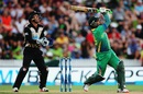 Umar Akmal slogs one for a six, New Zealand v Pakistan, 2nd T20I, Hamilton, January 17, 2016
