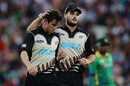 Adam Milne is congratulated by Mitchell McClenaghan,  New Zealand v Pakistan, 2nd T20I, Hamilton, January 17, 2016