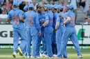 Umesh Yadav is mobbed by his team-mates, Australia v India, 3rd ODI, Melbourne, January 17, 2016