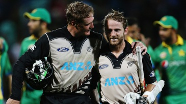 Martin Guptill and Kane Williamson walk off after securing a ten-wicket win