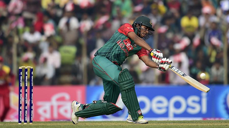 Soumya Sarkar reaches out to play the ball through off side