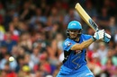 Tim Ludeman drives en route to his 49, Melbourne Renegades v Adelaide Strikers, BBL 2015-16, Melbourne, January 18, 2016
