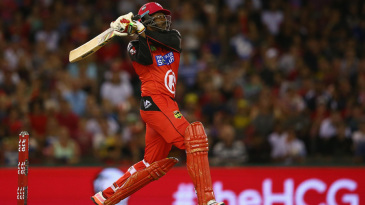 Chris Gayle launches one into the stands