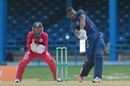 Timroy Allen drives over the off side, Trinidad & Tobago v ICC Americas, Nagico Super50 2016, Port-of-Spain, January 15, 2016