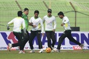 Heath Streak joins the Bangladesh players in a game of football, Khulna, January 19, 2016