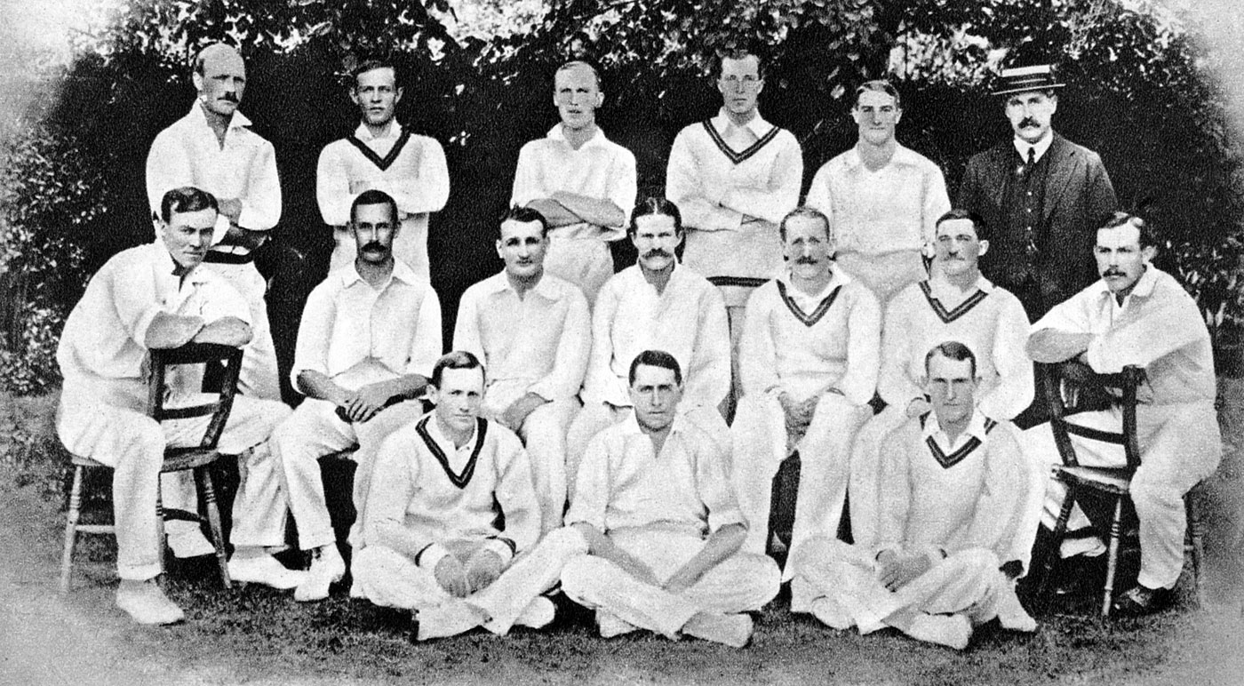 The South African touring party in England in 1907. Faulkner is standing second from right, with fellow spin wizards Reggie Schwarz (second from left, middle row), Bert Vogler (second from right, middle row) and Gordon White (second from left, bottom row)