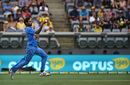 Bhuvneshwar Kumar runs in to bowl, Australia v India, 4th ODI, Canberra, January 20, 2016