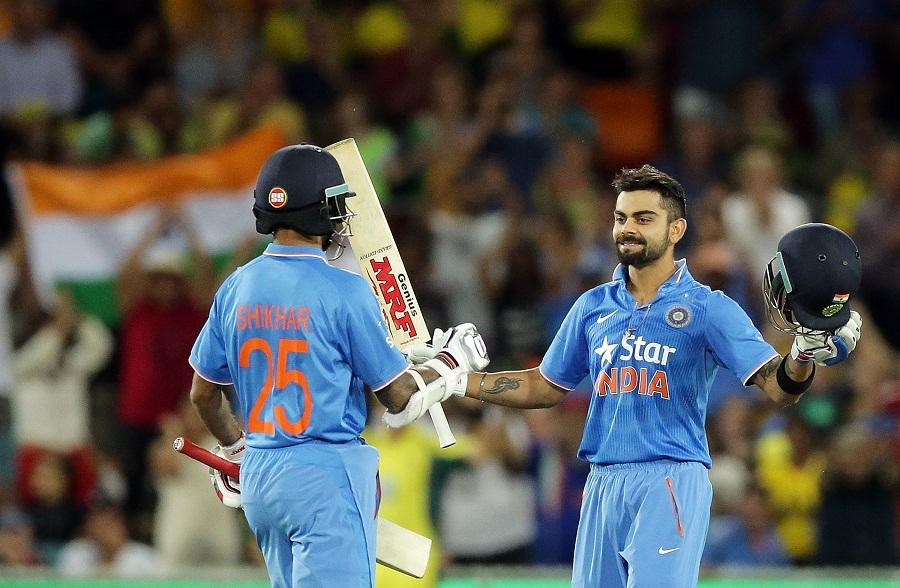 Virat Kohli celebrates his ton with Shikhar Dhawan   Photo   Australia v  India   ESPNcricinfo.com