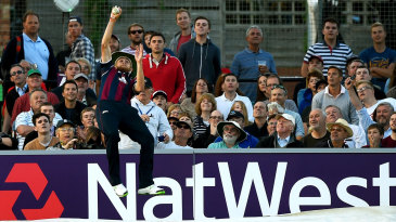 Olly Stone takes a spectacular catch at the boundary and throws the ball back into play