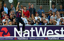 Olly Stone takes a spectacular catch at the boundary and throws the ball back into play, Sussex v Northamptonshire, NatWest T20 Blast quarter-final, Hove, August 12, 2015