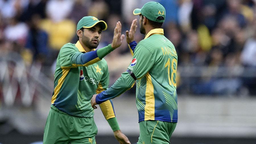 Mohammad Rizwan and Shoaib Malik celebrate a wicket