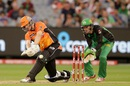 Adam Voges plays a slog sweep during his fifty, Melbourne Stars v Perth Scorchers, 2nd semi-final, BBL 2015-16, Melbourne, January 22, 2016