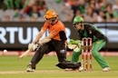 Michael Klinger plays a reverse sweep, Melbourne Stars v Perth Scorchers, 2nd semi-final, BBL 2015-16, Melbourne, January 22, 2016