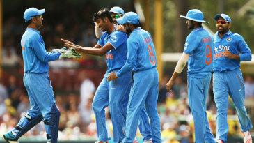 Debutant Jasprit Bumrah celebrates his first ODI wicket