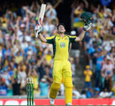 Mitchell Marsh roars upon completing his maiden ODI hundred, Australia v India, 5th ODI, Sydney, January 23, 2016