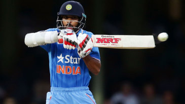 Shikhar Dhawan pulls en route to his brisk 78