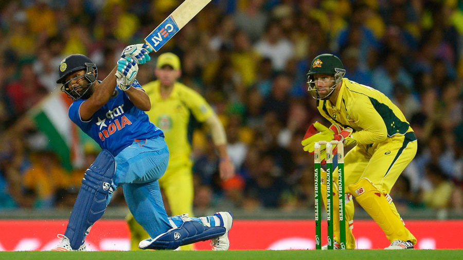 Rohit Sharma launches a slog sweep