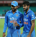 Man of the Series Rohit Sharma with Man of the Match Manish Pandey, Australia v India, 5th ODI, Sydney, January 23, 2016