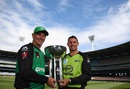 The Hussey brothers pose with the BBL trophy, Melbourne, January 23, 2016