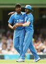 Jasprit Bumrah is congratulated by Manish Pandey, Australia v India, 5th ODI, Sydney, January 23, 2016