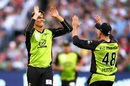 Chris Green celebrates one of his two wickets, Melbourne Stars v Sydney Thunder, BBL final 2015-16, Melbourne, January 24, 2016