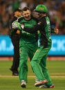 David Hussey celebrates, Melbourne Stars v Sydney Thunder, BBL final 2015-16, Melbourne, January 24, 2016