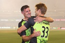The departing Michael Hussey is embraced by Shane Watson, Melbourne Stars v Sydney Thunder, BBL final 2015-16, Melbourne, January 24, 2016