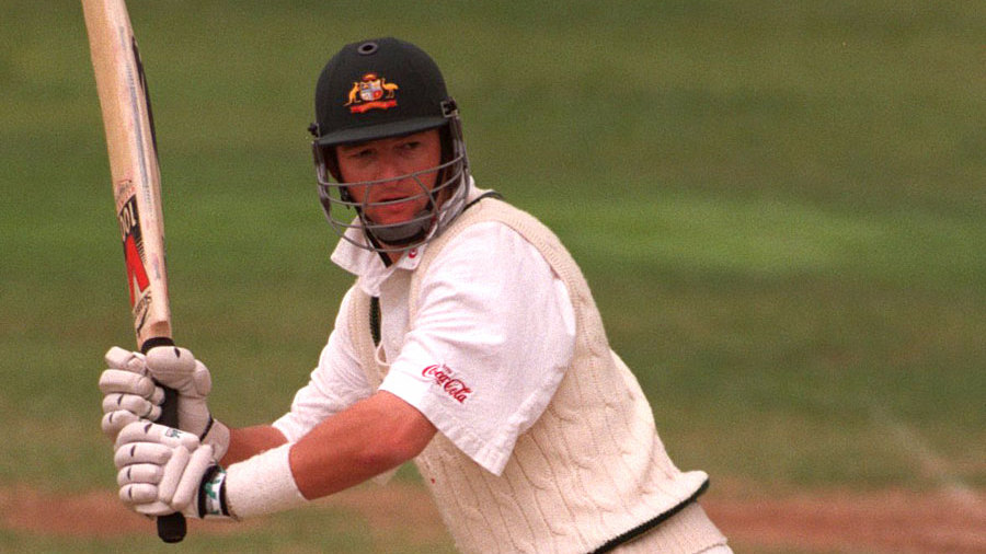 Mark Waugh bats during the 1997 Ashes tour